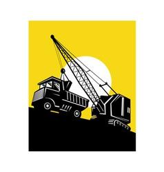 Boom crane loading mining dump truck vector