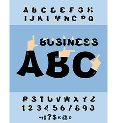 Business Hand font Pointing finger alphabet vector image