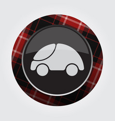 Button with red black tartan - cute rounded car vector