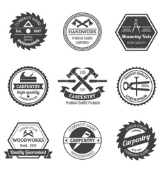 Carpentry emblems set vector image