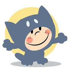Cartoon child cat costume vector image