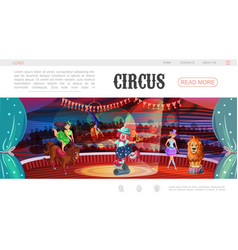Cartoon circus web page template vector