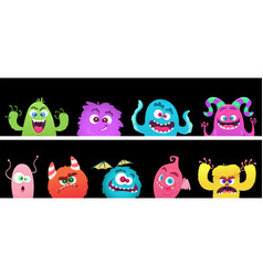 cartoon monsters halloween monster faces vector image