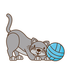 cat with ball yarn isolated icon vector image