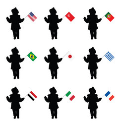 Child silhouette holding the flags vector