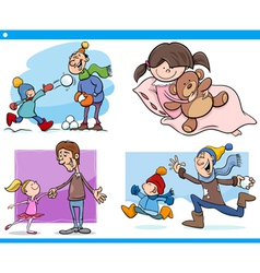 childhood cartoon set vector image