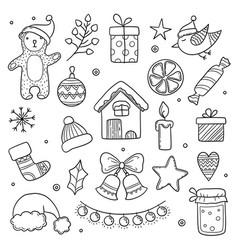 christmas doodles winter season xmas characters vector image