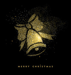 christmas gold glitter holiday decoration card vector image