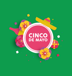 Cinco de mayo paper flower card for mexican party vector