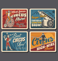 Circus funfair carnival show retro vector