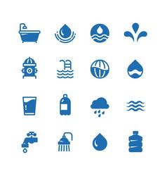 Clean water silhouette icons aqua vector