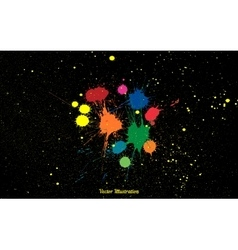 Colorful bright ink splashes over black vector