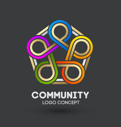 community care logo connecting people logo design vector image