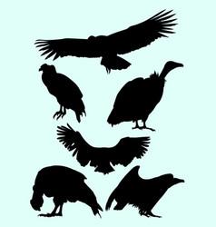 condor falcon vulture birds animal silhouette vector image