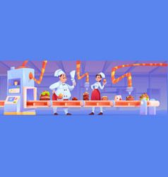 Confectioners on candy factory decorate production vector