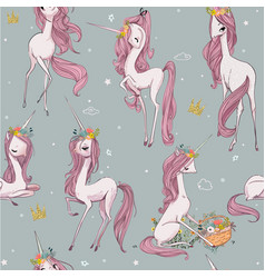 cute unicorn seamless pattern vector image