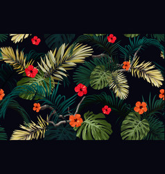dark tropical seamless pattern with exotic vector image