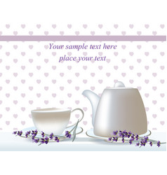 delicate tea time card herbs banners with vector image