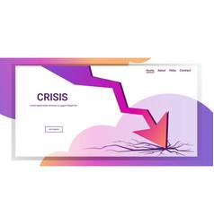 downward chart economic arrow falling down vector image
