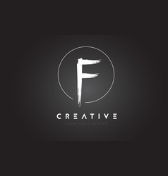 f brush letter logo design artistic handwritten vector image