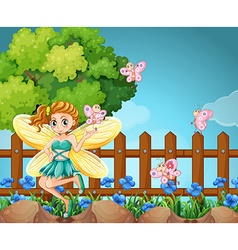 Fairy and butterflies in the park vector image