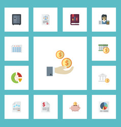 Flat icons stock bank bookkeeper and other vector
