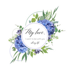 floral print with blue hydrangea elegant bouquet vector image