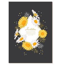 Flower card chamomile background daisy wreath vector