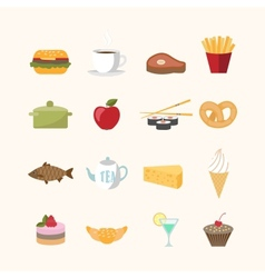 Food icons in flat style vector