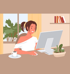 Freelance girl working at home with inspiration vector