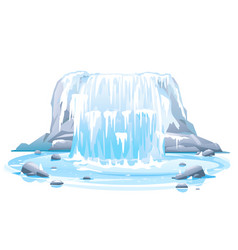 Frozen waterfall in front view isolated vector