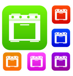 gas stove set collection vector image