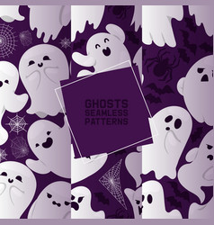 ghost seamless pattern cartoon scary spooky vector image