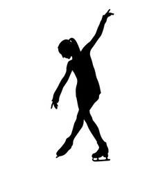 Girl figure skater black silhouette on white vector