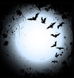 Halloween background with a full moon and bats vector image
