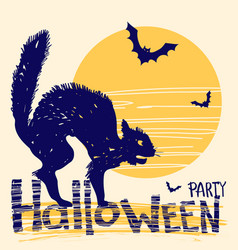 halloween party card with black cat and night vector image