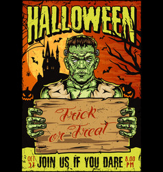 halloween party vintage colorful poster vector image