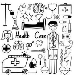 hand drawn doodle health care set vector image