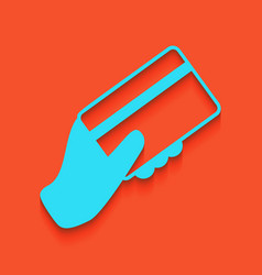 Hand holding a credit card whitish icon vector
