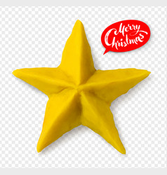 Hand made plasticine figure of christmas star vector