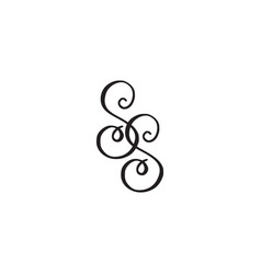 Handwritten monogram ss icon vector