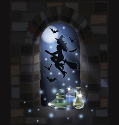 Happy halloweenflying witch glass bottles vector