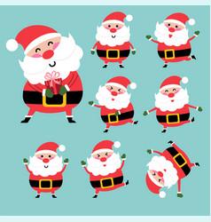 happy santa character design set vector image