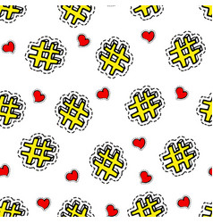 hashtags and hearts seamless pattern social media vector image
