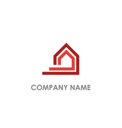 Home line shape realty logo vector