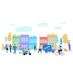 Human life in moder city summer time activity vector