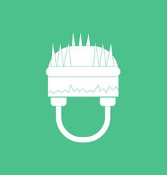 Icon military helmet with grass vector