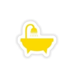 Icon sticker realistic design on paper bathtub vector