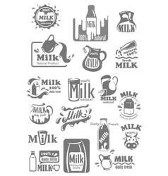 Icons and labels for milk dairy products vector