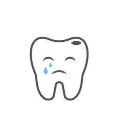 Illness crying tooth image line eps vector